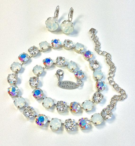 Свадьба - Swarovski Crystal Necklace -  Designer Inspired - Bridal Whites  -  Crystal, White Opal and Aurora Borealis