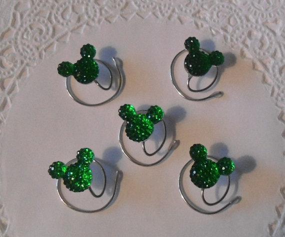 Свадьба - MOUSE EARS Hair Swirls Accessory for Disney Themed Wedding in Dazzling Green Acrylic