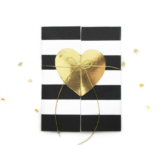 زفاف - Gold foil heart - Will you be my Bridesmaid Card - Bridal party cards - black white stripes - modern bridesmaid card