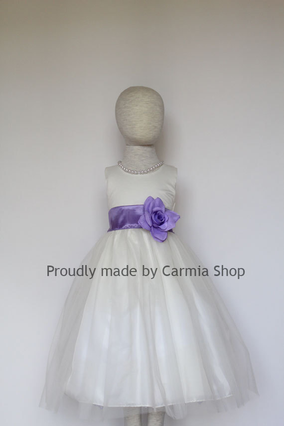 Flower Girl Dresses IVORY With Wisteria Lilac FRBP