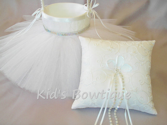 Wedding - Wedding Flower Girl Basket with Matching Ring Bearer Pillow-  Silver Sequins Flower Girl Tutu Basket