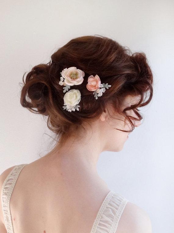 Wedding - bridal hair piece, flower hair pins, blush flower, ivory flower, bridal hairpiece, wedding hair accessories, flower girl, bridesmaid hair