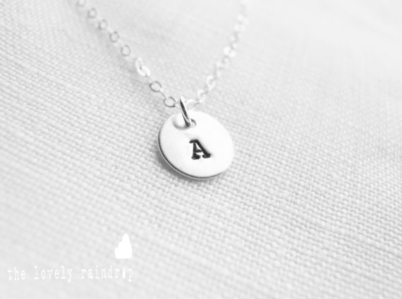 "Hochzeit - NEW Customized Sterling Silver Single 3/8"" Disc Necklace - Hand Stamped Personalized Charm - Sterling Jewelry - Wedding Jewelry - Simple"