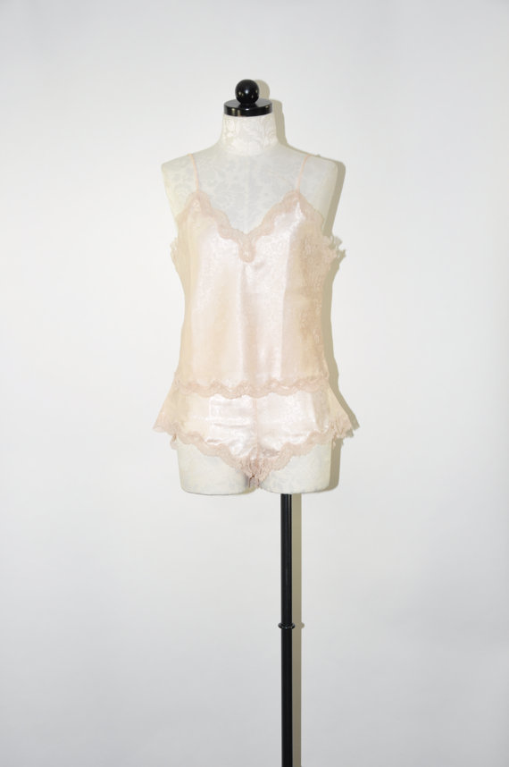 Wedding - blush two piece teddy / 80s pale pink nightie set / lacy bridal lingerie / floral damask teddy
