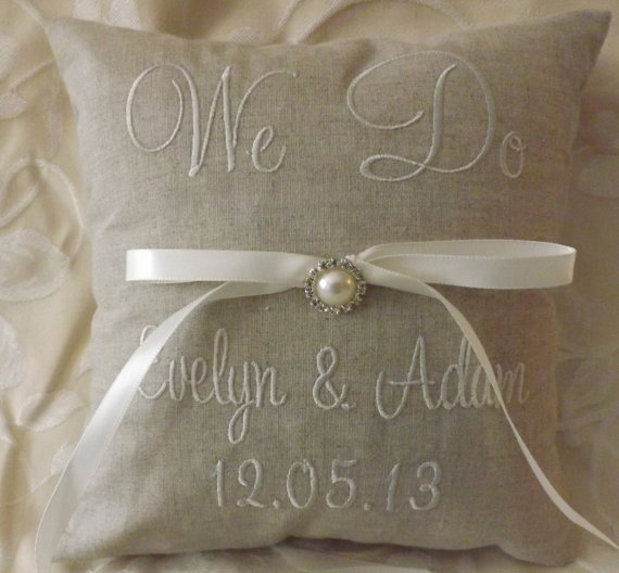 Wedding - Personalized Embroidered Ring Bearer Pillow