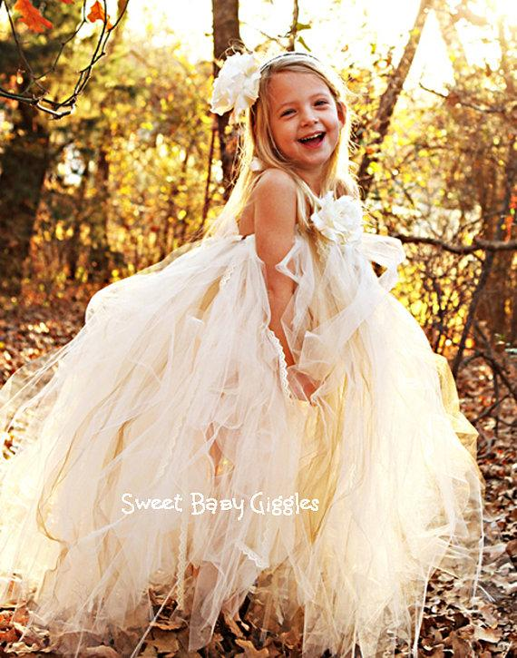 Ivory Flower Girl Tutu Dress With Lace - Ivory Flower Girl Dress ...