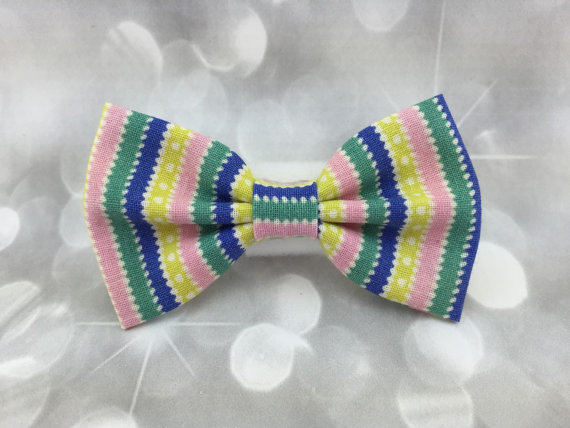 Свадьба - Pastel Stripes Small Pet Dog Cat Bow / Bow Tie