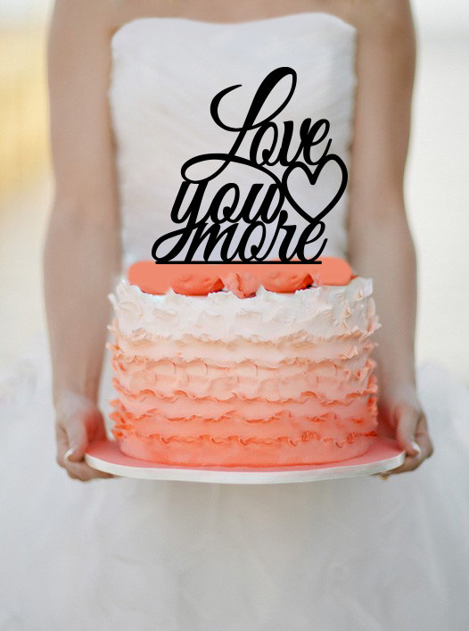 Mariage - Love you more Wedding Cake Topper Monogram cake topper Personalized Cake topper Acrylic Cake Topper