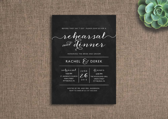 زفاف - Printable Rehearsal Dinner Invitation, Chalkboard Invite