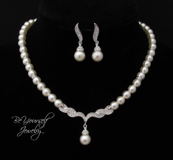 زفاف - Pearl Bridal Necklace and Earring Set Single Strand Pearl Necklace Round Ivory Pearl Necklace Bridesmaid Gift Wedding Jewelry Pearl Jewelry