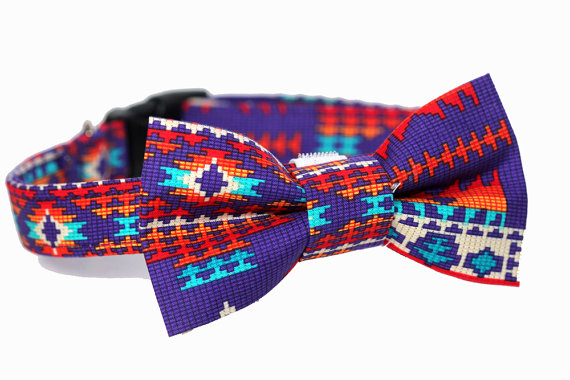 زفاف - Aztec Tribal Bowtie Dog Collar - Wedding Collar - Purple Tribal