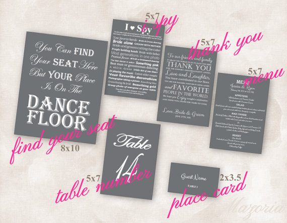 Свадьба - Wedding Reception SET of 6 (Thank you, Place, Menu, I Spy, Seating and Table numbers) grey with white font Instant Download