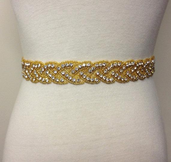 Mariage - Gold Sash-Gold Rhinestone Sash-Gold Wedding Sash-Rhinestone Belt-Gold Beaded Sash-Crystal Bride Belt-Loops Gold Beaded Rhinestone Sash