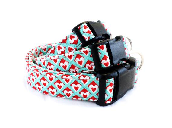 Wedding - Valentine's Day Dog Collar, Heart Dog Collar, Love Dog Collar, Aqua and Red Dog Collar, Wedding Dog Collar - XS, S, M, L, Leash sizes