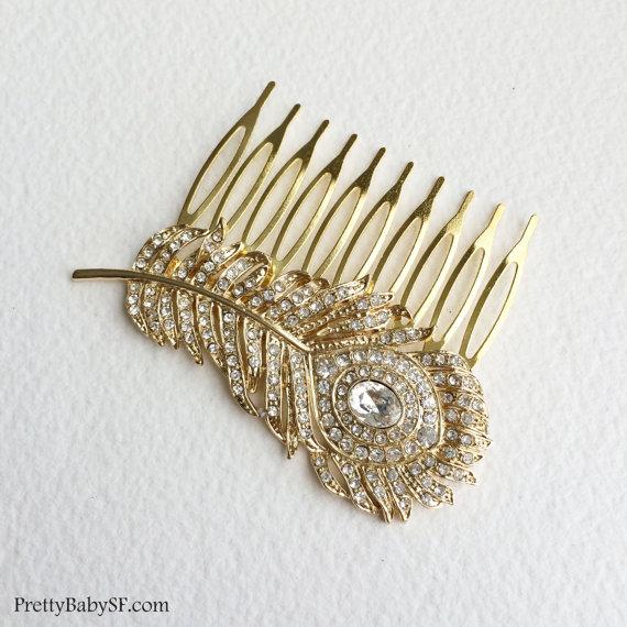Mariage - 24k GOLD peacock Comb, art deco comb, gold hair comb, gold comb, bridal, peacock wedding, peacock feather bridal comb  hair accessories
