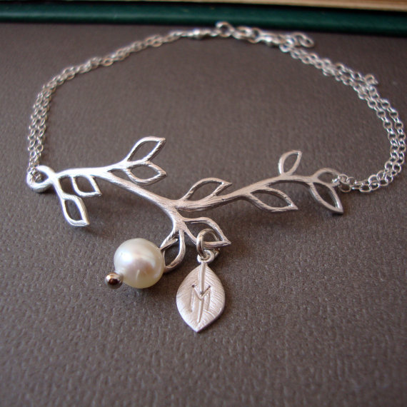 Mariage - Branch Personalized Bracelet, STERLING SILVER delicate feminine bridal, bridesmaids, simple and dainty jewelry, wedding pearl bracelet