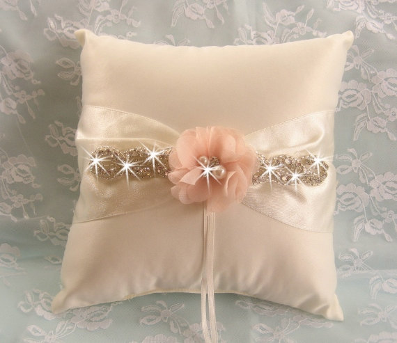 Hochzeit - Wedding Ring Pillow Ring Bearer Pillow Shabby Chic Vintage Ivory and Cream Custom Colors too