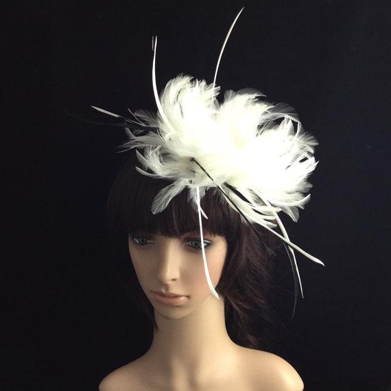 زفاف - White Fascinator with Feathers, Wedding Headpiece, Bridal Headband, Kentucky Derby Fascinator,Melbourne Cup, Hair accessories
