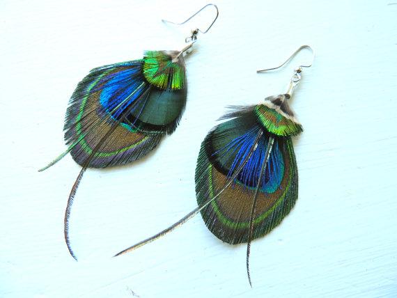 Mariage - ARIZONA Mini Peacock Feather Boho and Green Feather Earrings
