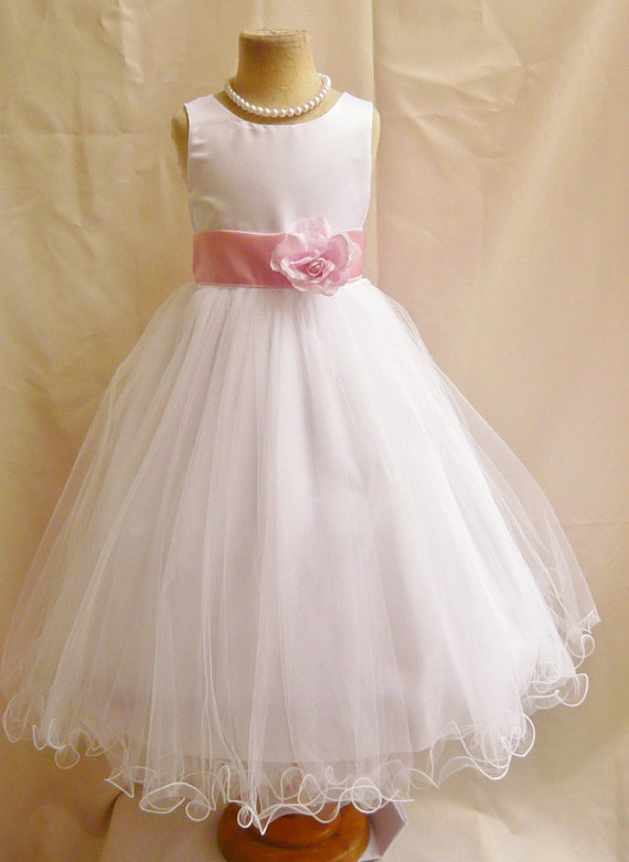 زفاف - Flower Girl Dresses - WHITE with Pink Light (FD0FL) - Wedding Easter Junior Bridesmaid - For Children Toddler Kids Teen Girls