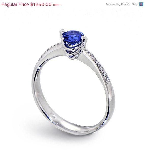 زفاف - SALE 20% OFF - SOLO Blue Sapphire Engagement  Ring, 14k White Gold Sapphire Ring , Diamond and Sapphire Ring, Italian Jewelry, Fine Jewelry