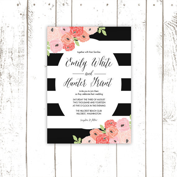 Wedding Invitations, Black Striped Invitation And Response Card ...