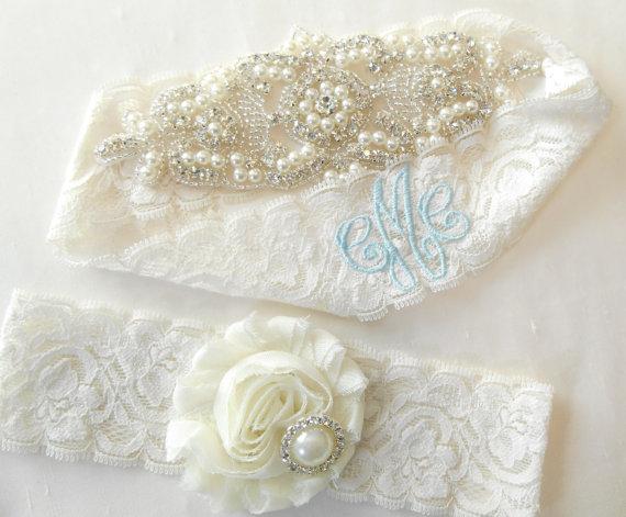 Mariage - Wedding Garter Set MONOGRAM OPTION Lingerie Lace Classic Pearls and Rhinestone Setting Shabby Rose Bridal Garter Set