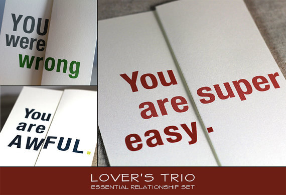 Mariage - Lover's Trio: Relationship Essential Card Set - Three fold-out funny cards to get you through a year in your relationship.
