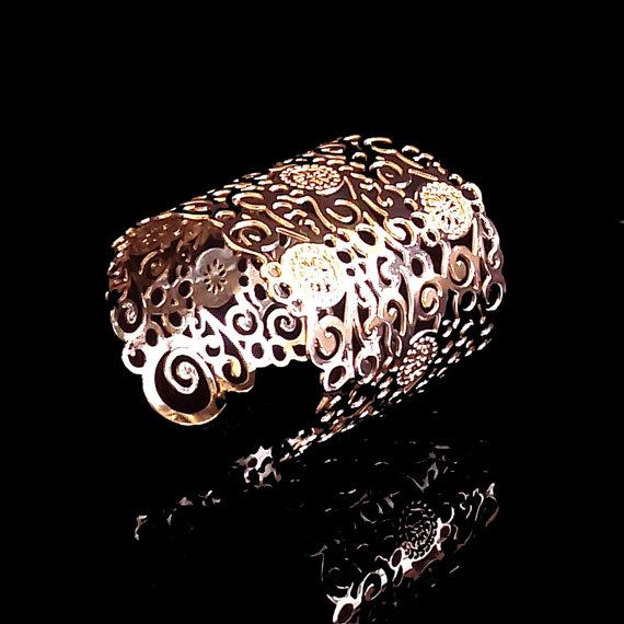 Свадьба - Rose Gold cuff, Spiral Rose Gold Cuff, Rose Gold bangle, Rose gold bracelet, Flower cuff, Wide rose gold bracelet, Rose Gold Bridal jewelry