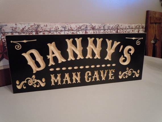 Man Cave Father S Day Gifts : Personalized man cave sign wooden carved first name