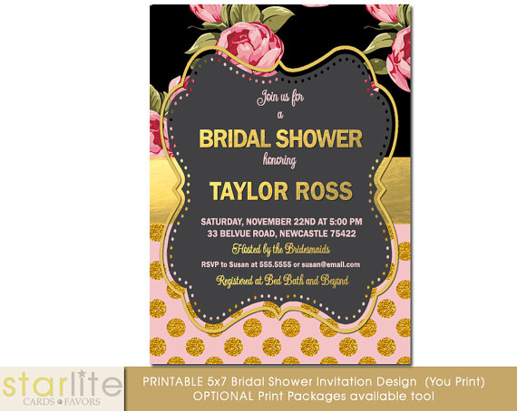Bridal shower invitation vintage style pink gold dots roses black bridal shower invitation vintage style pink gold dots roses black gold foil engagement shabby chic printable design or printed option filmwisefo