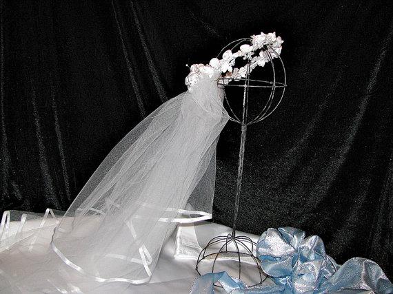 Wedding - Bridal veil wedding shower wedding centerpiece, decoration, wedding reception  or shower centerpiece  bridal bouquetsl, rhinestones