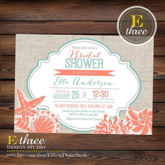 09559189366 Printable Beach Bridal Shower Invitation - Coral and Teal Seashell Wedding  Shower Invite - Nautical Destination Wedding
