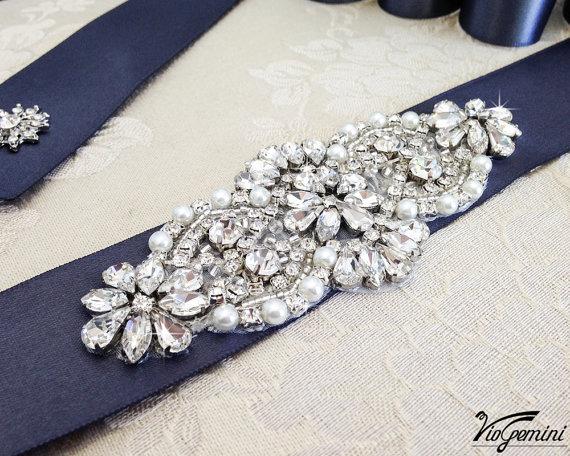 زفاف - Bridal sash, rhinestones and pearl sash, wedding sash, jeweled sash belt, wedding sash, crystal sash, rhinestone sash, sash