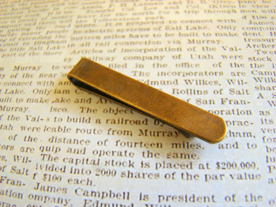 Mariage - Skinny Tie Clip, Brass Tie Clip, Tie Clip for Narrow Ties, Skinny Tie Accessories, Hipster Wedding, Great for Groomsmen's Gifts TC813S-AB