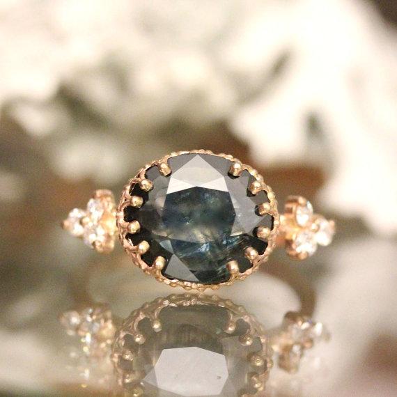 Blue Rose Cut Sapphire 14K Rose Gold Engagement Ring Moissanite