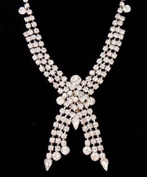 Mariage - Vintage ART DECO Necklace Cascading Crystal Rhinestone Bridal Wedding Jewelry