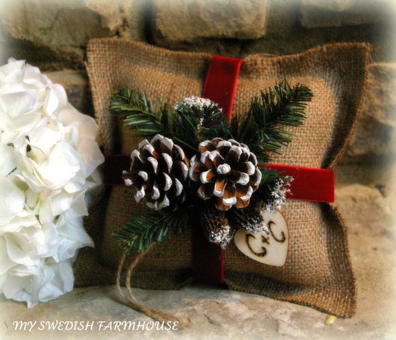 Свадьба - Burlap Ring Bearer Pillow Rustic Christmas Wedding Decor PERSONALIZED Wood Heart Custom (Your Color Choice of Ribbon and Flower)