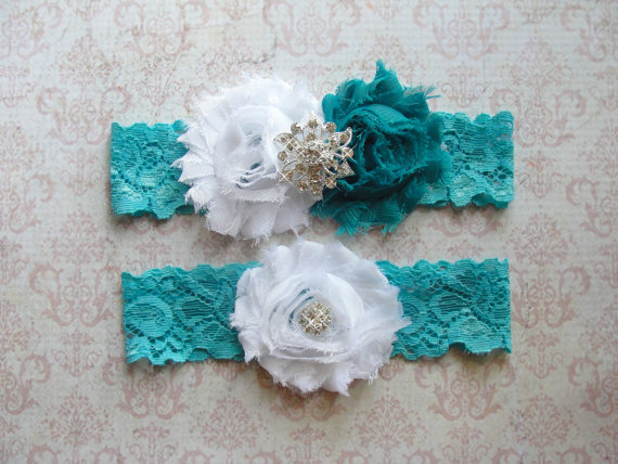 Wedding - Aqua Garter Set, Garter Wedding, Wedding Garter Belt, Thigh Garter, Blue Garter, Garter Wedding, Something Blue, Lace Garter, Teal Garter
