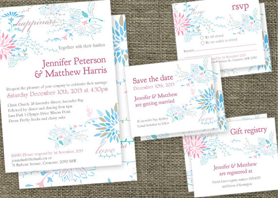 Love Happiness Floral Wedding Invitations Set Printable