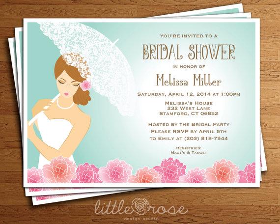Wedding - Bridal Shower Invitation - Wedding Shower Invite - Bridal Brunch Invite - Bride Umbrella Invitation - Printable - Digital File