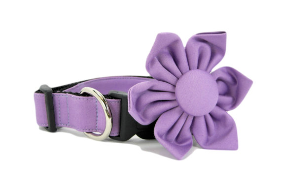 Свадьба - Wedding dog collar-Purple  Dog Collar with flower set  (Mini,X-Small,Small,Medium ,Large or X-Large Size)- Adjustable