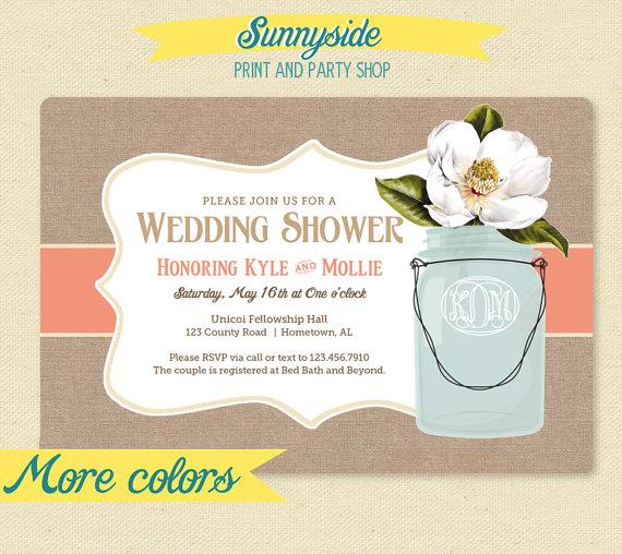 Hochzeit - Wedding Shower Invitation - Monogram Burlap Mason Jar - Magnolia Bridal Shower Invitation - Garden Shower Invite