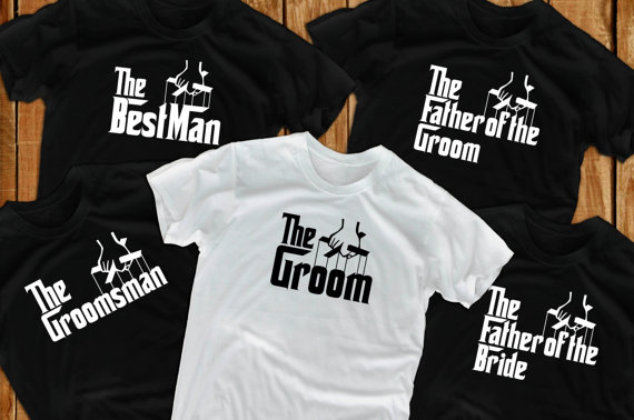 Hochzeit - Groom t shirts (5) Bachelor Party groomsmen gift  for grooms gift from bride groom to be father of the groom gift bride shirt groomsman gift