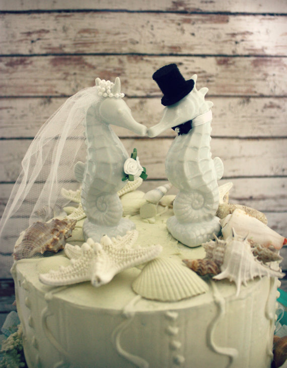 Seahorse Wedding Cake Topper Kissing Couple Beach Themed 54all Each