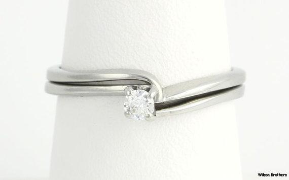 زفاف - Genuine Diamond Solitaire Engagement Ring Wedding Band .12ct  - 18k White Gold a3592