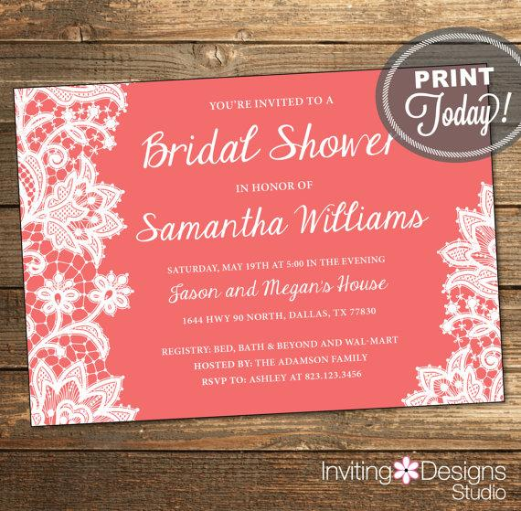 Coral And White Wedding Invitations: Lace Bridal Shower Invitation, Wedding Shower Invitation