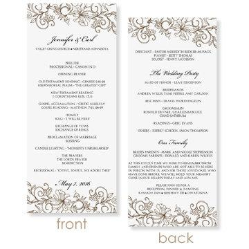 Instant download wedding program template vintage for Free wedding program templates word