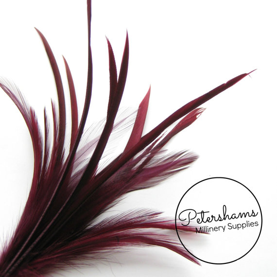 Mariage - Goose Biot & Hackle Feather Hat Mount Trim for Fascinators, Wedding Bouquets and Hat Making- Burgundy
