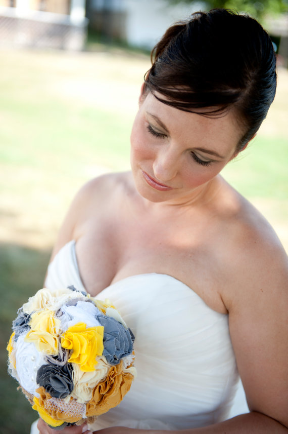 Wedding - Romantic rustic sunny yellow, gray and white burlap bridal wedding bouquet. Shabby chic fabric flowers.